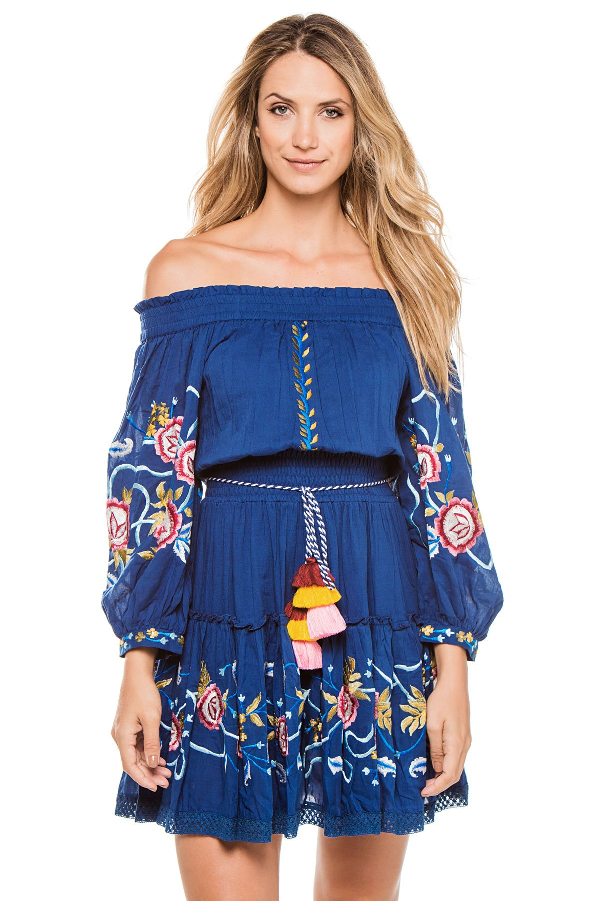 Misa Los Angeles Women's Emylee Off the Shoulder Embroidered Dress Swim Cover Up Blue S by Misa Los Angeles