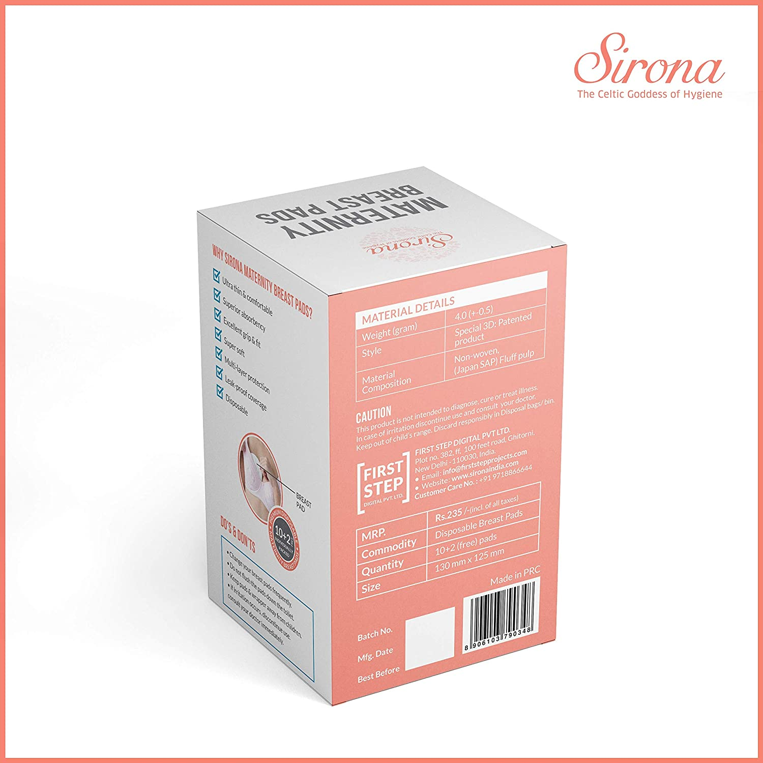 12 Pads Sirona Disposable Maternity and Nursing Breast Pads for Breastfeeding Women