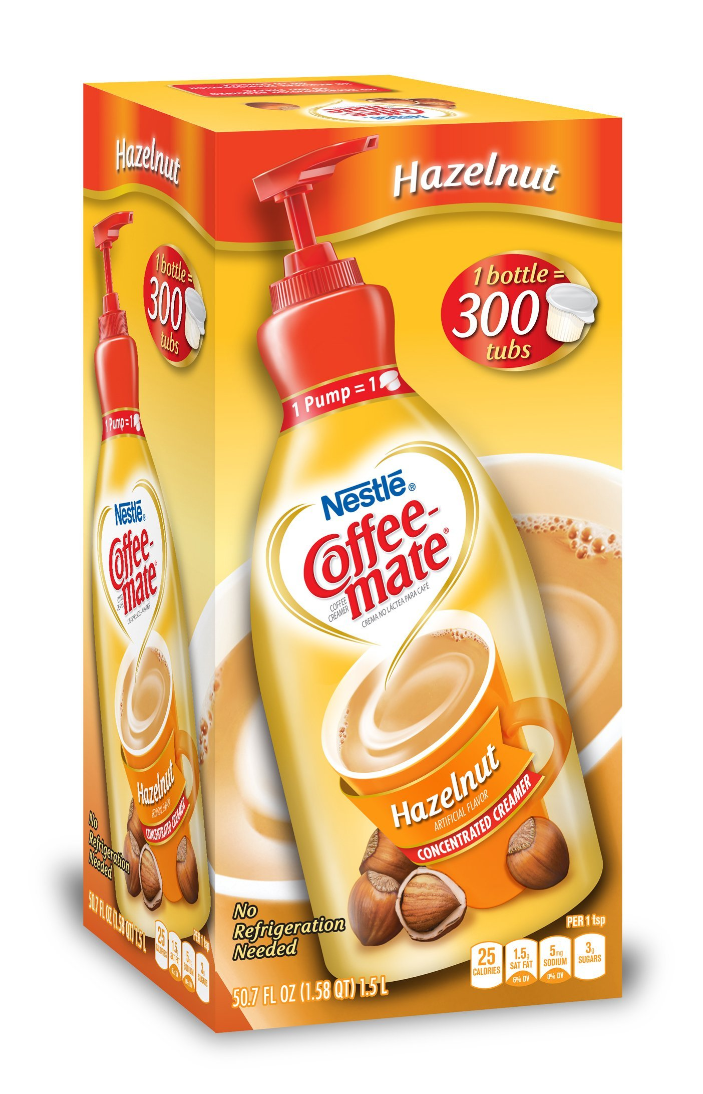 Nestle Coffee-mate Coffee Creamer, Hazelnut,L liquid pump bottle, 50.7 Fl. Oz (Pack of 1) by Nestle Coffee Mate (Image #1)