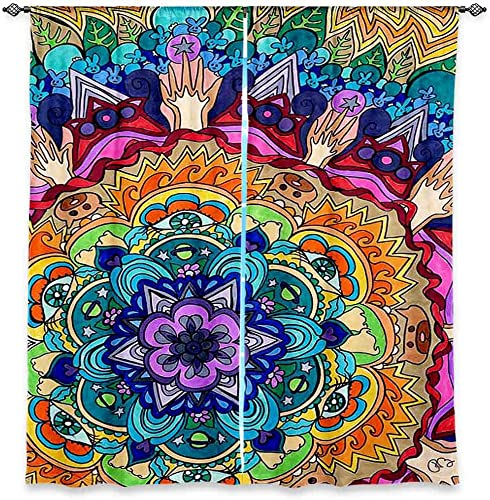 Dia Noche WCURachelBrownMicrocosmMandala6 Unlined Window Curtains, 80W x 82H in