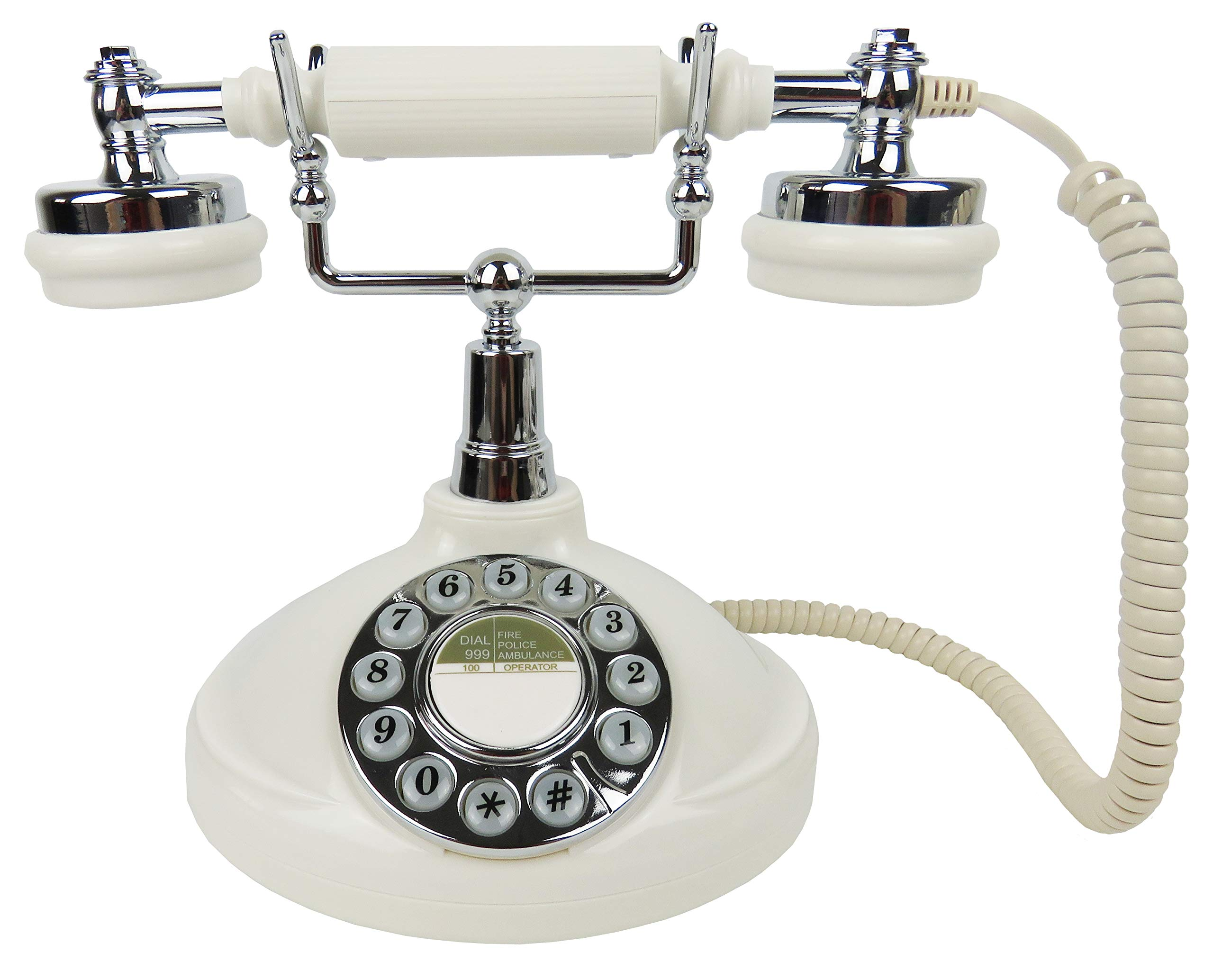 Antique Telephone-Classic Desk Phone with Push Botton for Home and office-1920 White by Home Creative