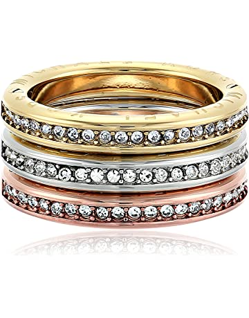 31c500f37 Michael Kors Womens Tri-Tone and Pave Logo Grommet Stack Ring Set