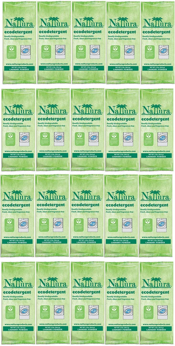 20 Individual Single Use Packets of Nattura Ecodetergent HE Laundry Powder Detergent 2 oz