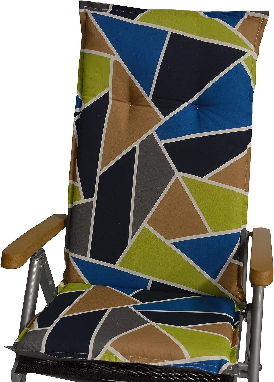 circa 118 x 48 x 6 cm beo Gartenstuhlauflagen Saumauflage f/ür Hochlehner graphisches Design mehrfarbig