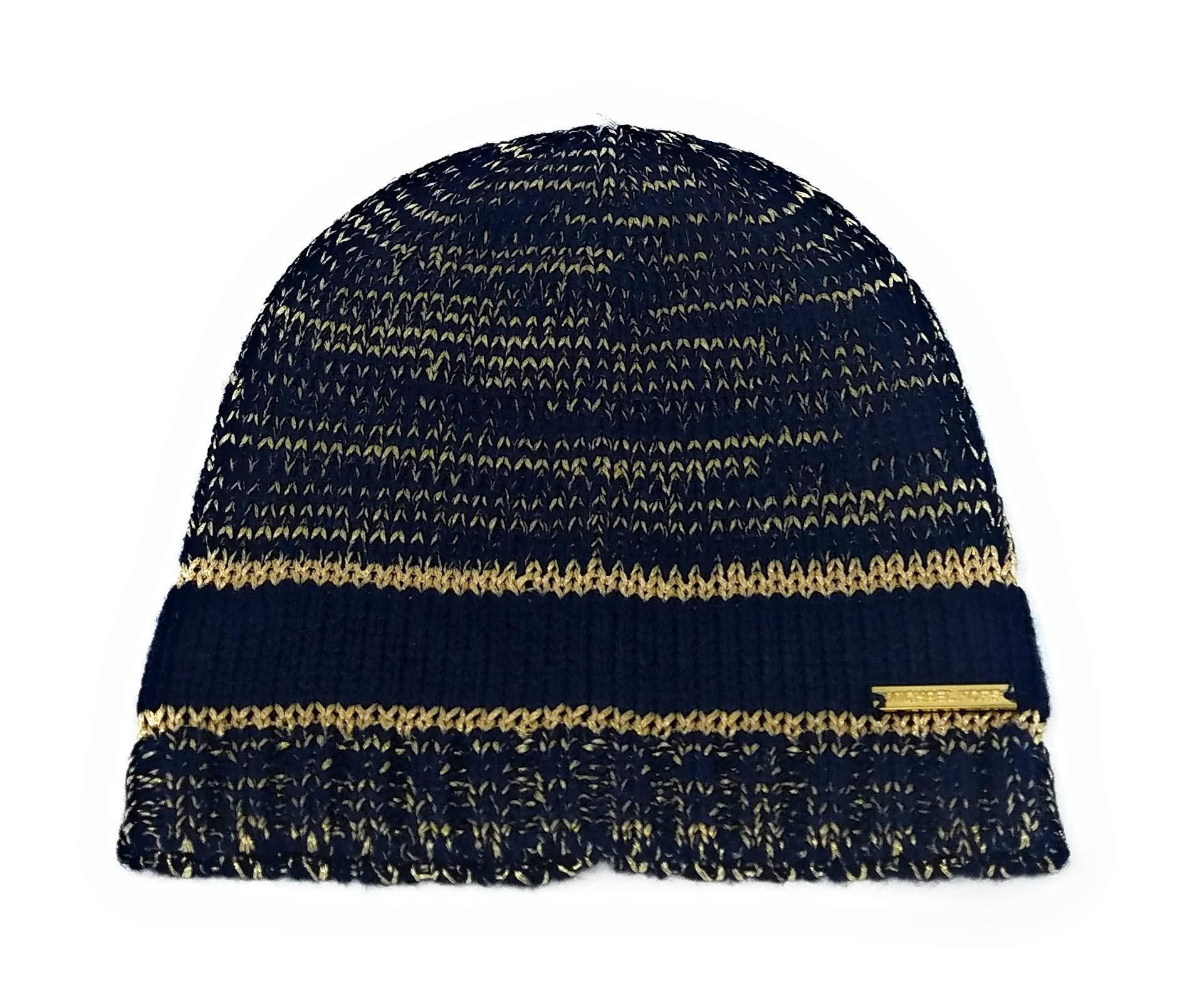 Michael Kors Women's Shimmer Stripe Beanie (Navy/Gold)
