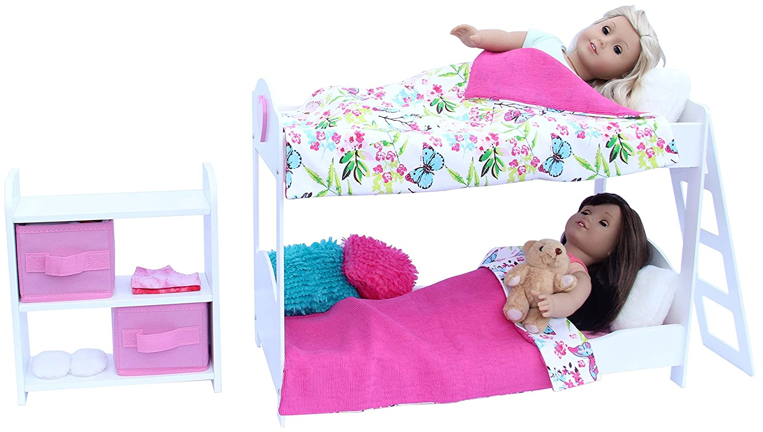 20 Pc. Doll Bedroom Set For 18 Inch American Girl Doll. Includes: Bunk Bed  Bookshelf X2 ...