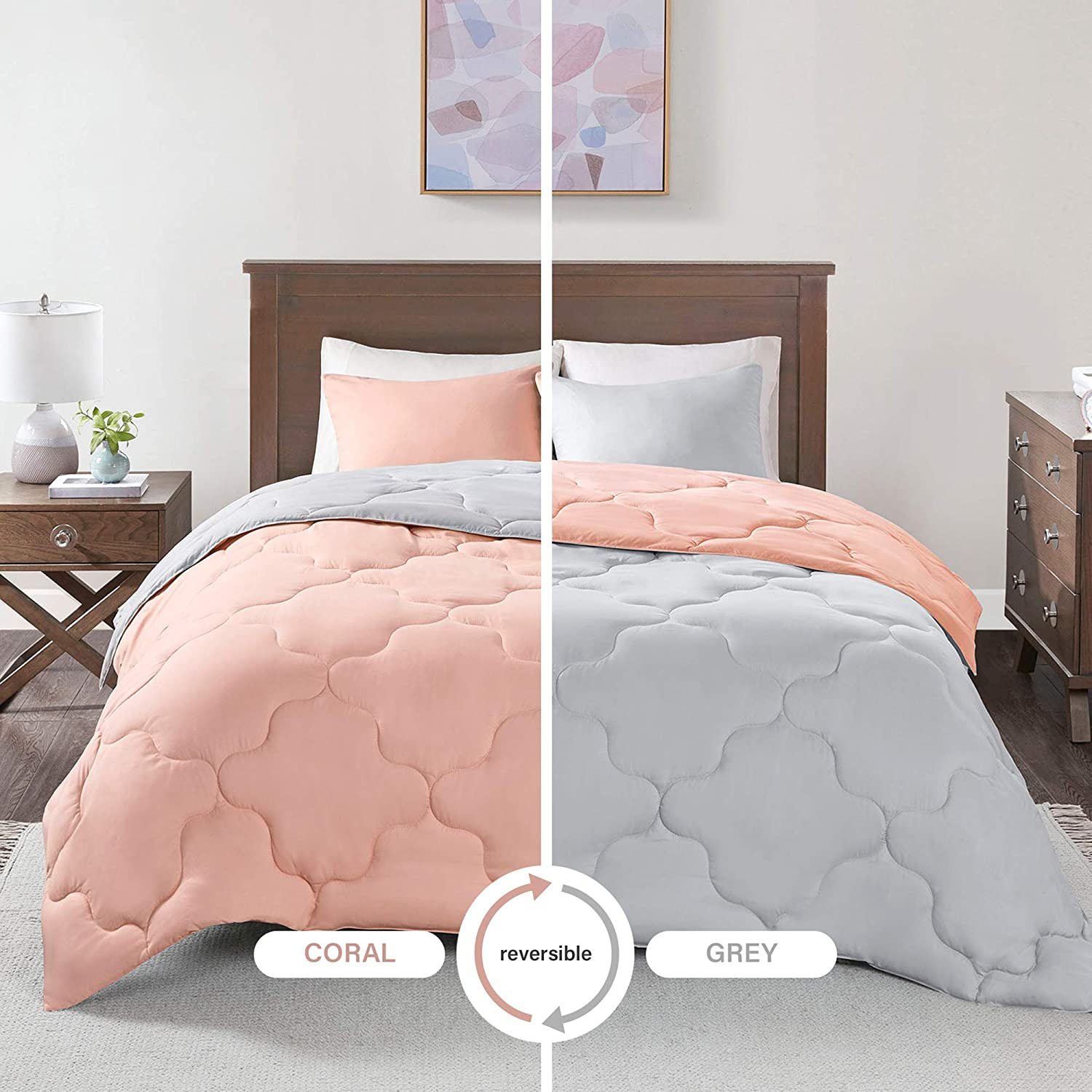 Comfort Spaces Vixie 3 Piece Comforter Set All Season Reversible Goose Down Alternative Stitched Geometrical Pattern Bedding, Full/Queen, Coral/Grey