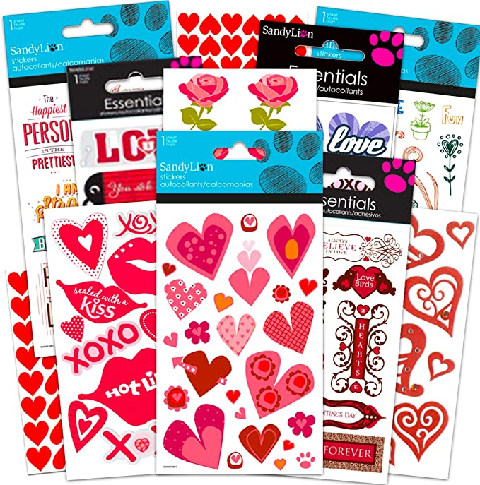 132 Pieces Valentines Day Party Supplies Set for Kids Include Silicone Bracelet Heart Glasses Heart Keychain Heart Decorative Stickers Sealing Stickers Cellophane Bags Twist Ties for Students Classroom Prizes