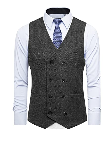 33a56b05b3 DAVID.ANN Men s Business Suit Vest Double Breasted Slim Fit Dress ...