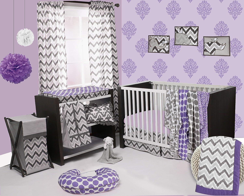 Bacati - Purple/Grey Ikat Chevron Muslin 10 Pc Crib Set Without Bumper Pad