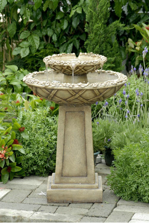 "29"" Light Brown Stone Look Tiered Bowls Outdoor Patio Garden Birdbath Fountain"
