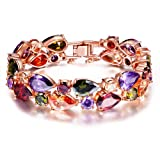 """Amazon Price History for:QIANSE """"Mona Lisa"""" Rose Gold Plated Multicolor Cubic Zirconia Bracelet"""