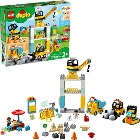 LEGO DUPLO Construction Tower Crane & Construction 10933 Exclusive Creative Building Playset with Toy Vehicles; Build Fine Motor, Social and Emotional Skills; Gift for Toddlers, New 2020 (123 Pieces)