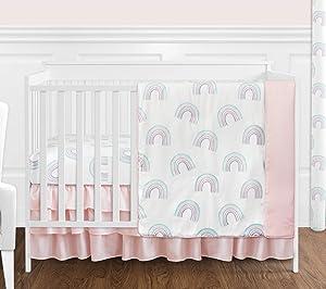 Sweet Jojo Designs Pastel Rainbow Baby Girl Nursery Crib Bedding Set - 4 Pieces - Blush Pink, Purple, Teal, Blue and White