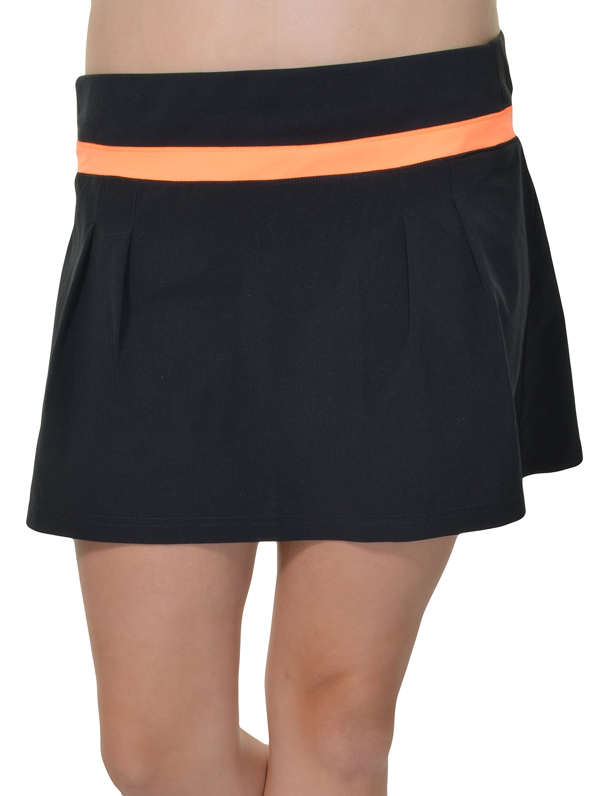 Adidas Climalite Pleated ALine Athletic Skort (Black/Glow Orange, Small) by adidas