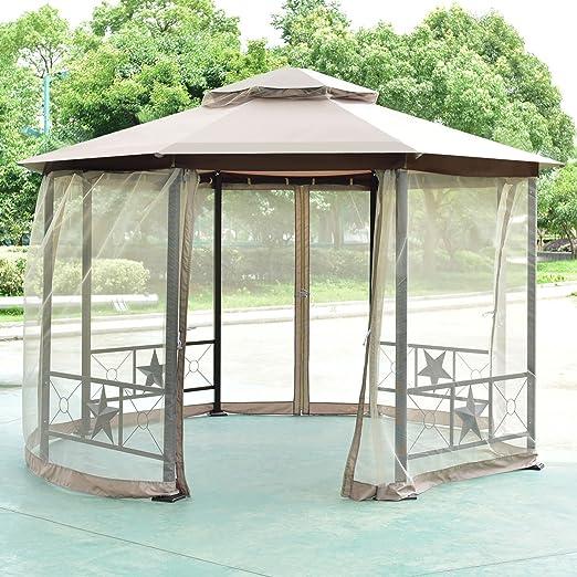 Tangkula Gazebo Octogonal de 2-Tier 12, 5 ft al Aire Libre Patio Totalmente Cerrada Marco de Acero Gazebo toldo Tienda de campaña con Malla: Amazon.es: Jardín