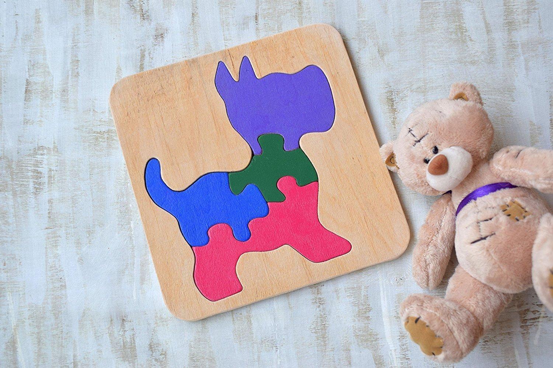 Holz Puzzle Hund Waldorf Spielzeug Montessori hölzernes pädagogisches Spiel Tier Baby Spielzeug Hölzernes Puzzles Baby Geschenk Welpe Kleinkind Lernspiel Eco freundliche Kleinkind Spiel Puzzle