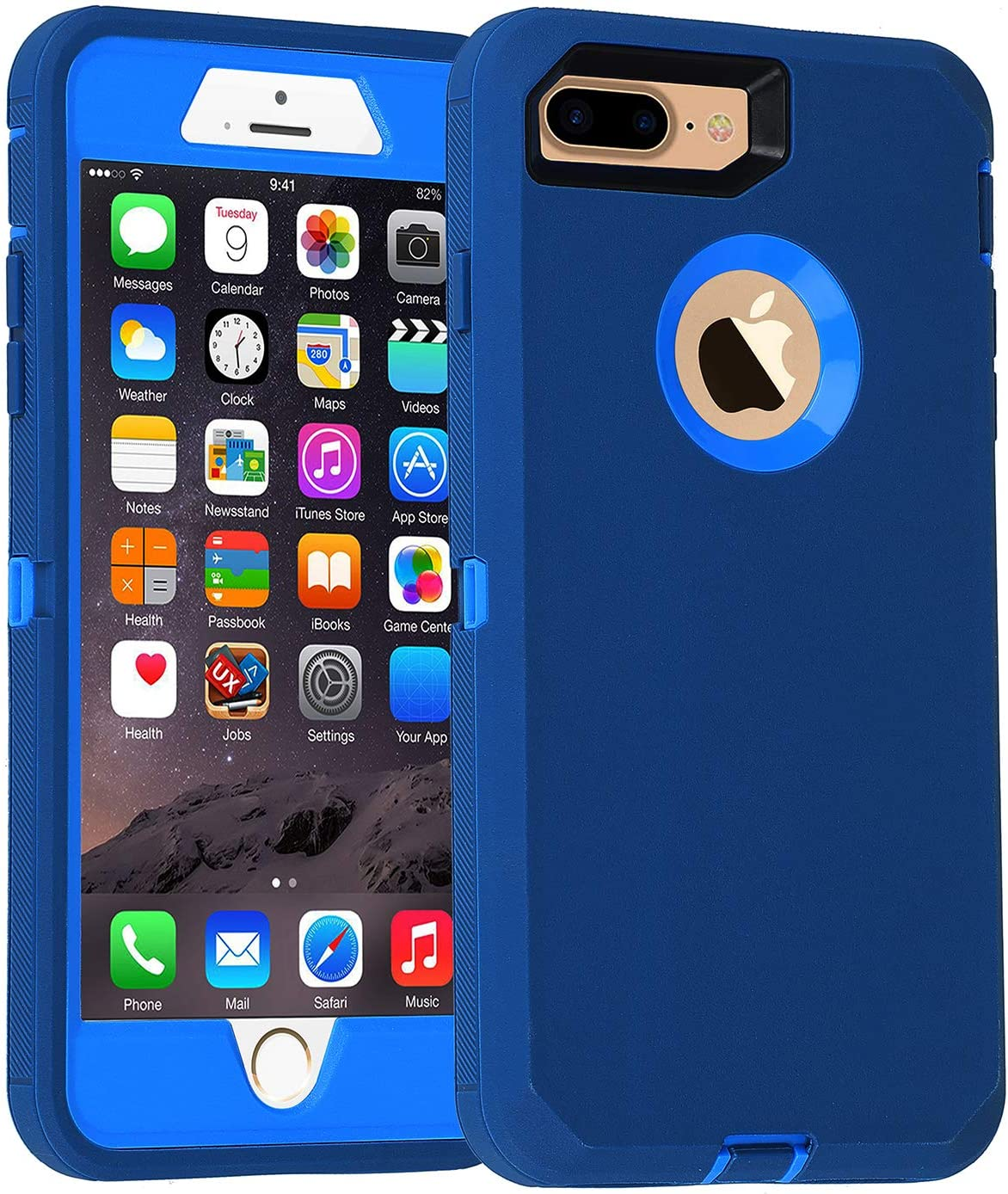 Co-Goldguard Case for iPhone 7 Plus/8 Plus Heavy Duty 3 in 1 Built-in Screen Protector Durable Cover Dust-Proof Shockproof Scratch-Resistant Shell Compatible with iPhone 7+/8+ 5.5 Blue/Navy