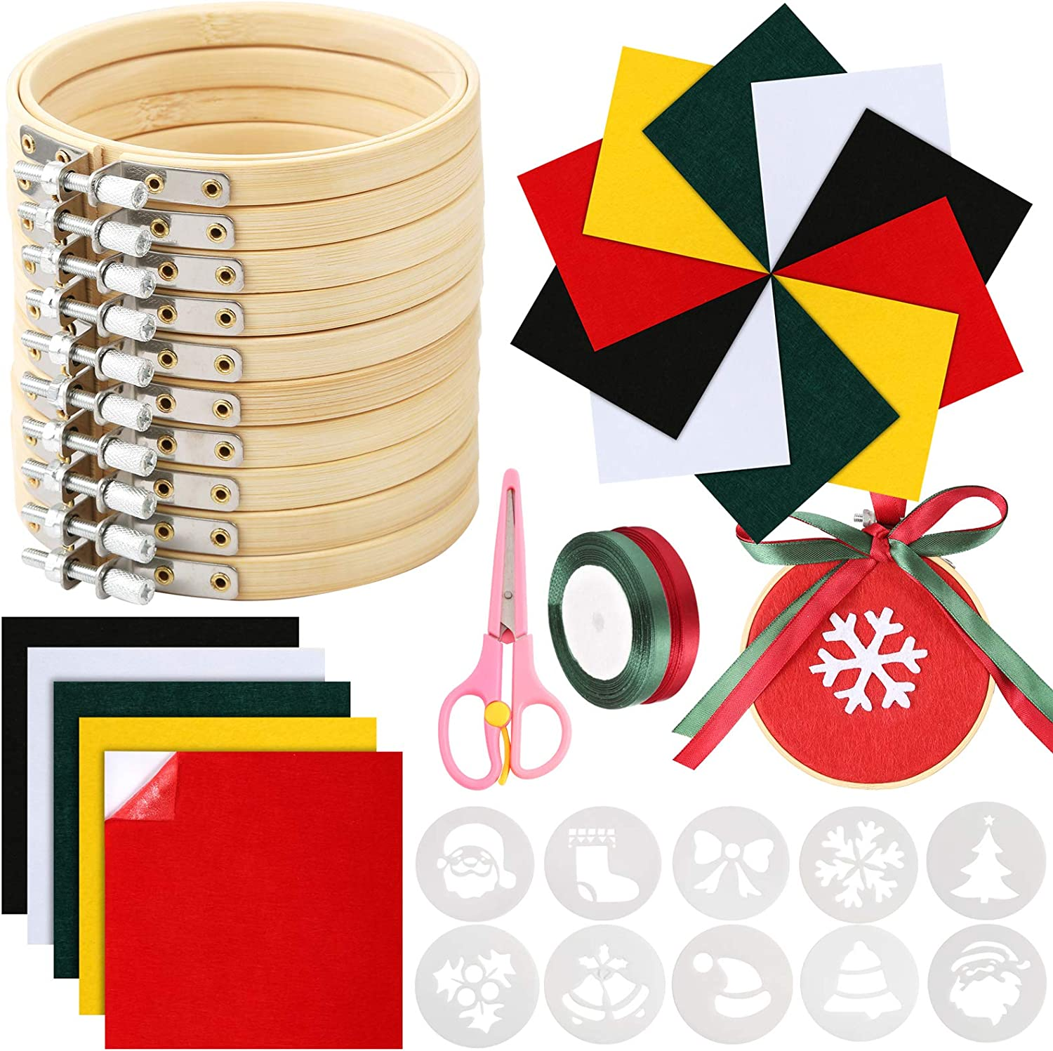 Caydo 38 Pieces Christmas Ornament Kit Including 3 Inch Embroidery Hoop, Needlework Fabric, Satin Ribbon, Cross Stitch Kit for DIY Craft Christmas Decoration