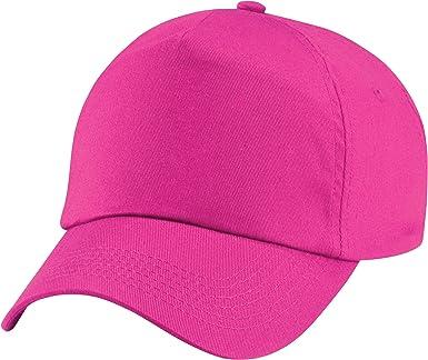 Beechfield Plain Unisex Junior Original 5 Panel Baseball Cap Classic Pink One Size