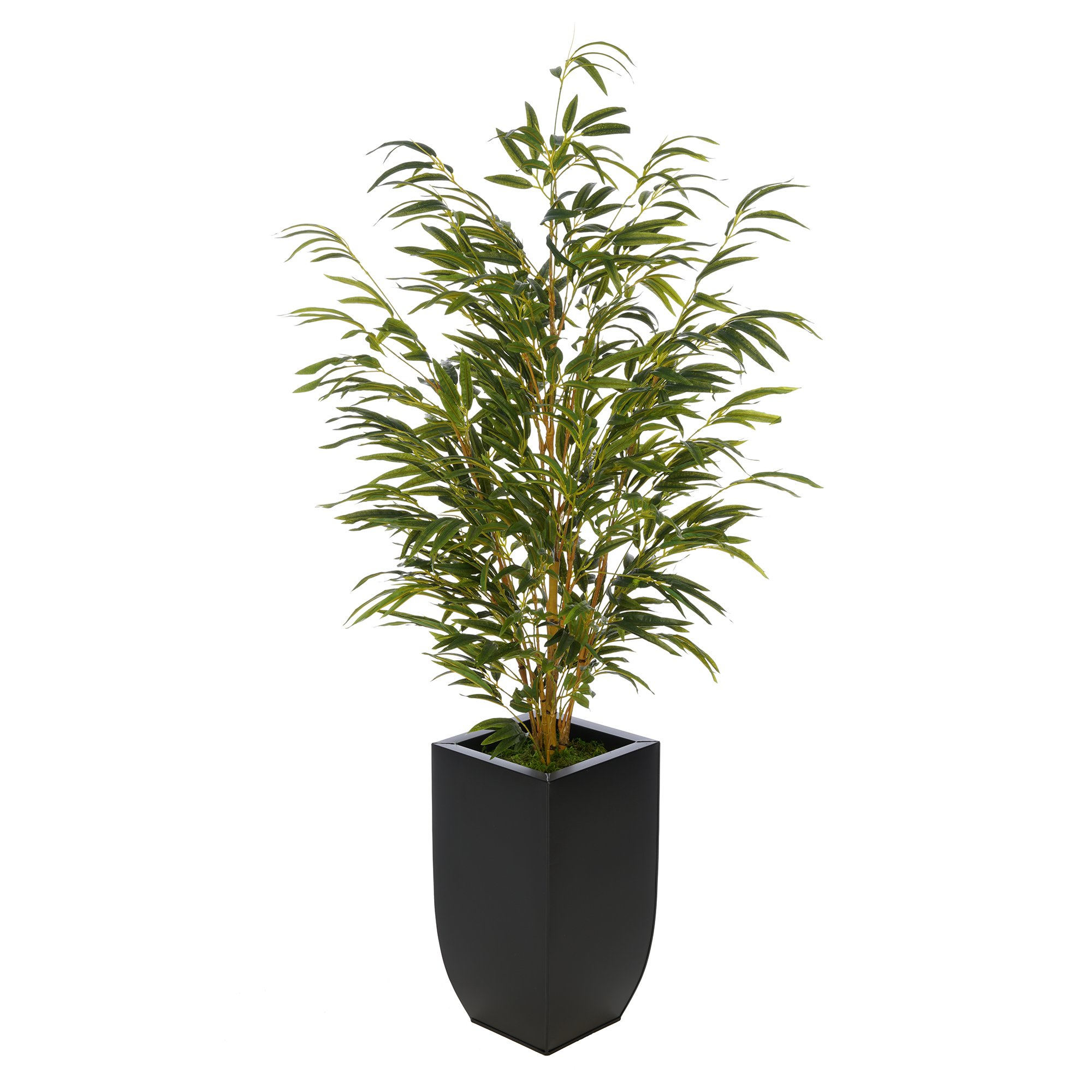 House of Silk Flowers Artificial 52-inch Bamboo in Black Tapered Zinc Vase (Yellow)