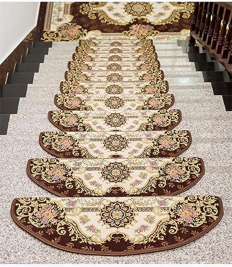 LMXJB Hotel Específico Peldaños Escalera Decorativo Alfombras Estilo CláSico Europeo Jacquard Antideslizante Durable AcríLico Alfombras Escalera No Necesita InstalacióN - 5 Unids,Brown,24x100cm: Amazon.es: Hogar