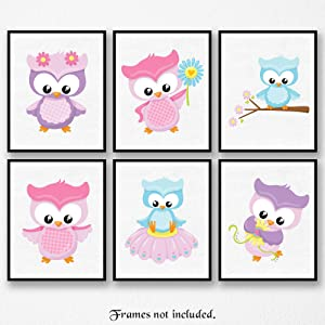 Cute Owls Poster Prints, Set of 6 (8x10) Unframed Pictures, Great Wall Art Decor Gifts Under 20 for Home, Office, School, Studio, Nursery, Student, Teacher, Children, Toddlers, Earth & Animals Fan
