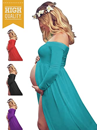 0d62d296ce043 Amazon.com: Women's Off Shouler Long Sleeve Maternity Dress for Photography  Chiffon Maternity Gown for Photoshoot: Clothing