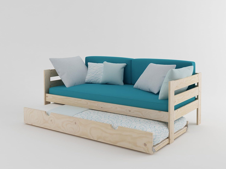 LUFE Cama sofá con Lamas y Nido (90_x_190_cm, Madera Maciza Pulida)
