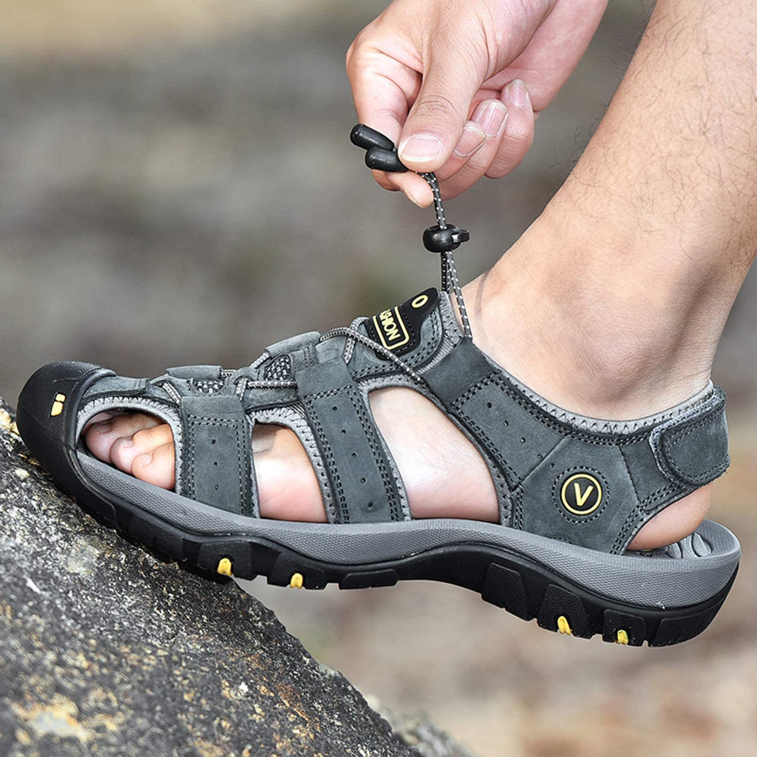 Unitysow Men Sandals Closed Toe Walking Fastening Hiking Sport Shoes Leather Sandals Summer Outdoor Casual Fishermen Beach Sandal