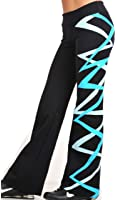 Margarita - Activewear - Black Long Pants with Turquoise & Blue Ribbons