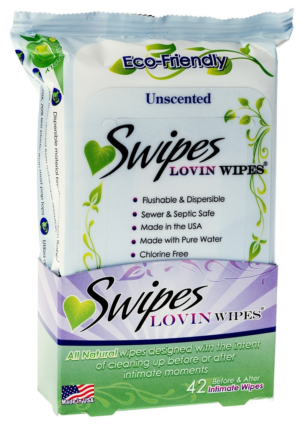 Swipes Lovin All Natural Intimate Wipes, Unscented, 3 Count