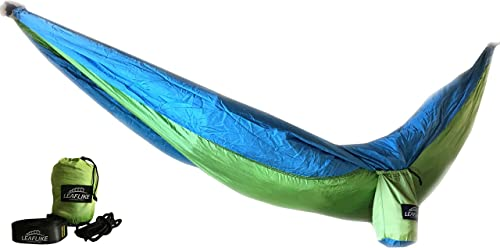 Leaflike The Superior Lightweight Double Camping Hammock by Includes Ultra Strong Straps Carabiners and Ropes