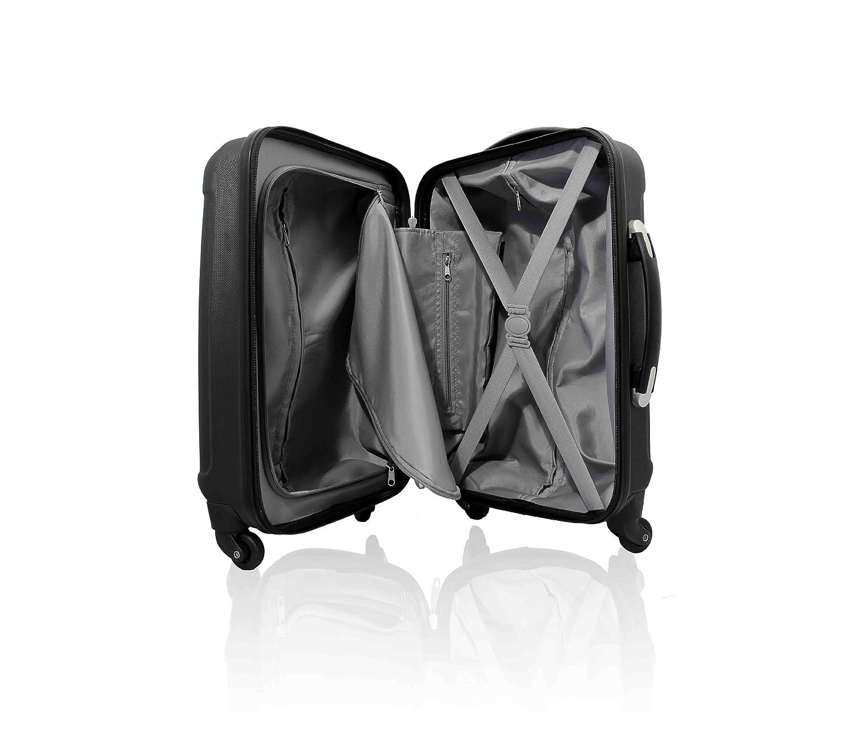 Valise de cabine rigide en ABS ultrar/ésistant a 4 roues multidirectionnelles Cabin Max En Noir