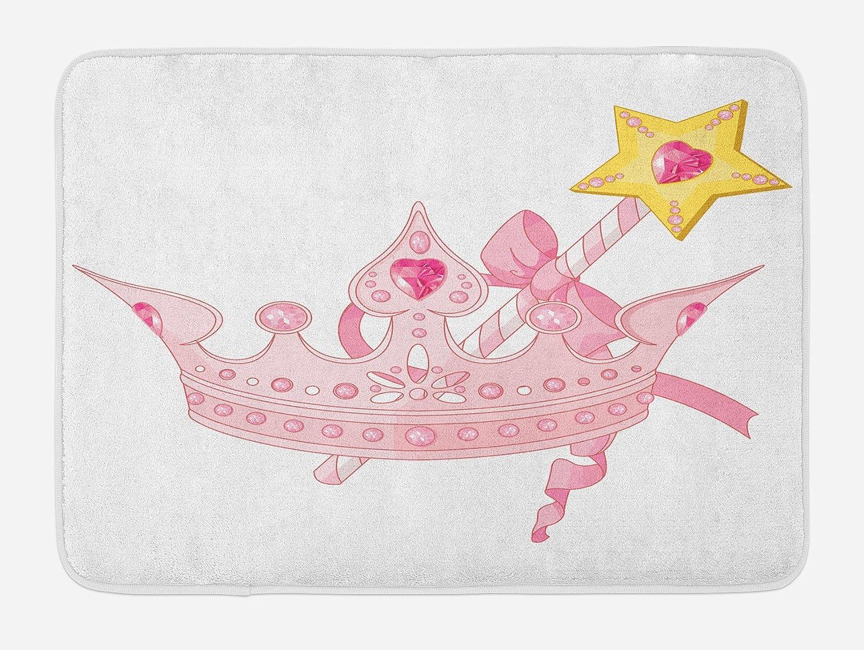 Ambesonne Princess Bath Mat, Crown and Magic Wand for True Princess Ribbon Golden Yellow Antique Artwork, Plush Bathroom Decor Mat with Non Slip Backing, 29.5