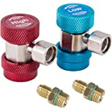 Orion Motor Tech AC R134A Adapter, Adjustable 134A R-134A Quick Coupler Connector, 1/4 inch Fittings, Works with Manifold Gauge Set