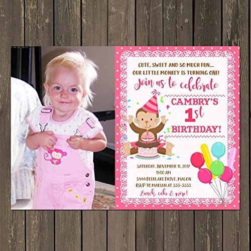 Image Unavailable Not Available For Color Little Monkey Girl 1st Birthday Invitation