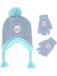 Disney Girls  Little Frozen Elsa Hat and Gloves Cold Weather Set bebab34e9223