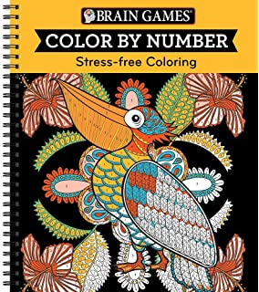 brain games color by number stress free coloring orange