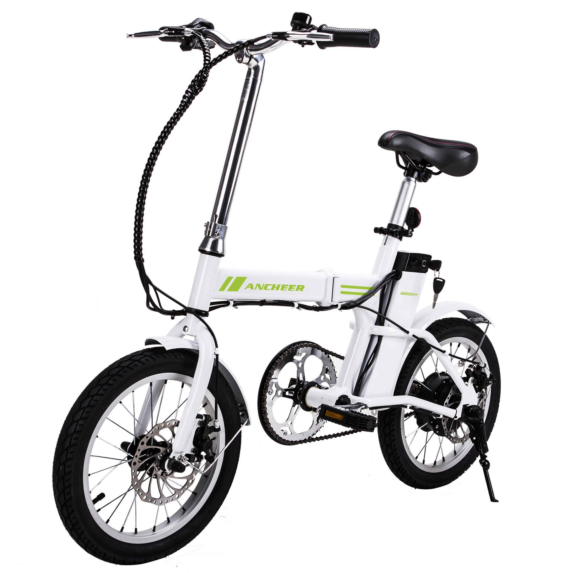 """Ancheer 16"""" Folding Electric Bike With 36V 6Ah Lithium Battery, 250W Powerful Brushless Gear Motor (White)"""