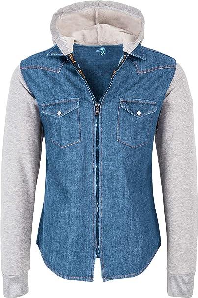 Jeanshemd Freizeit Hemd Casual Langarm Shirt Kapuze Jeans Herren OZONEE 1144Z