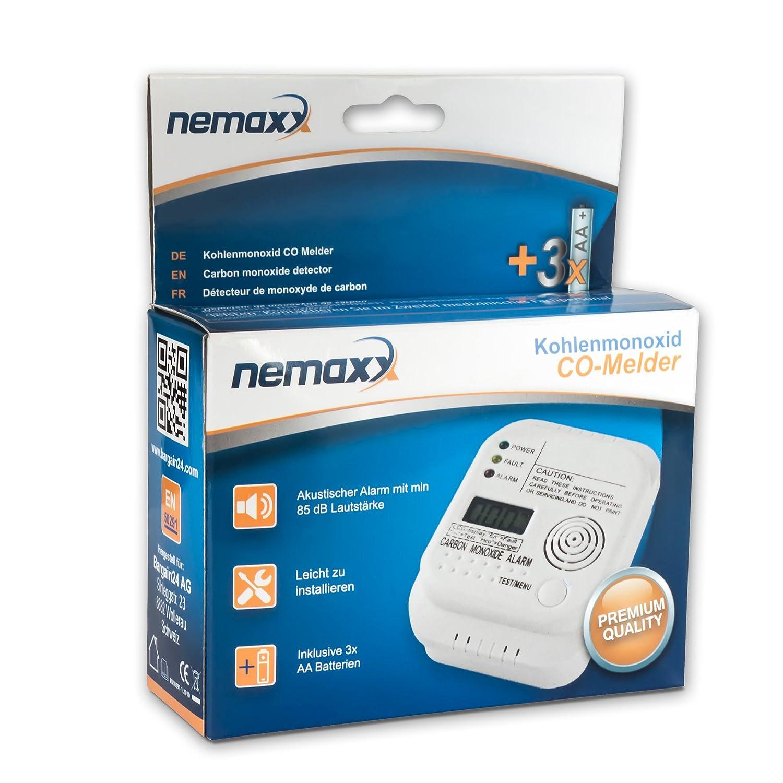 Nemaxx Detector de CO, Alarma de monóxido de carbono - Alta sensibilidad con Display LCD: Amazon.es: Bricolaje y herramientas