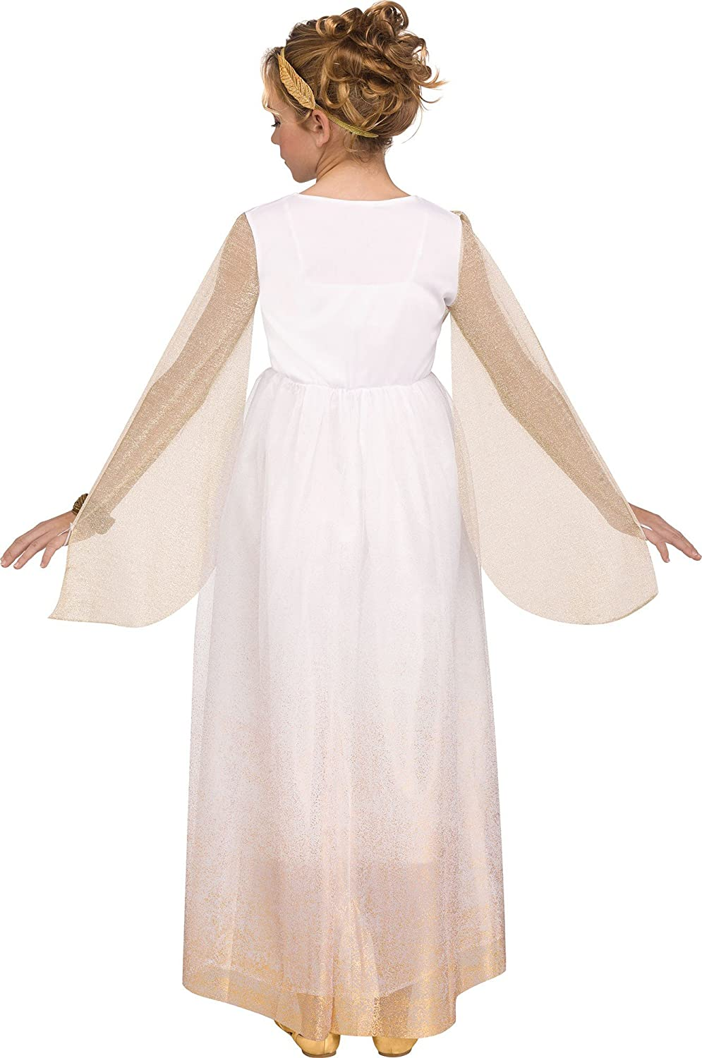 Girls Greek Goddess Costume Gold Trim Dress Kids Halloween Party Fancy Dress up