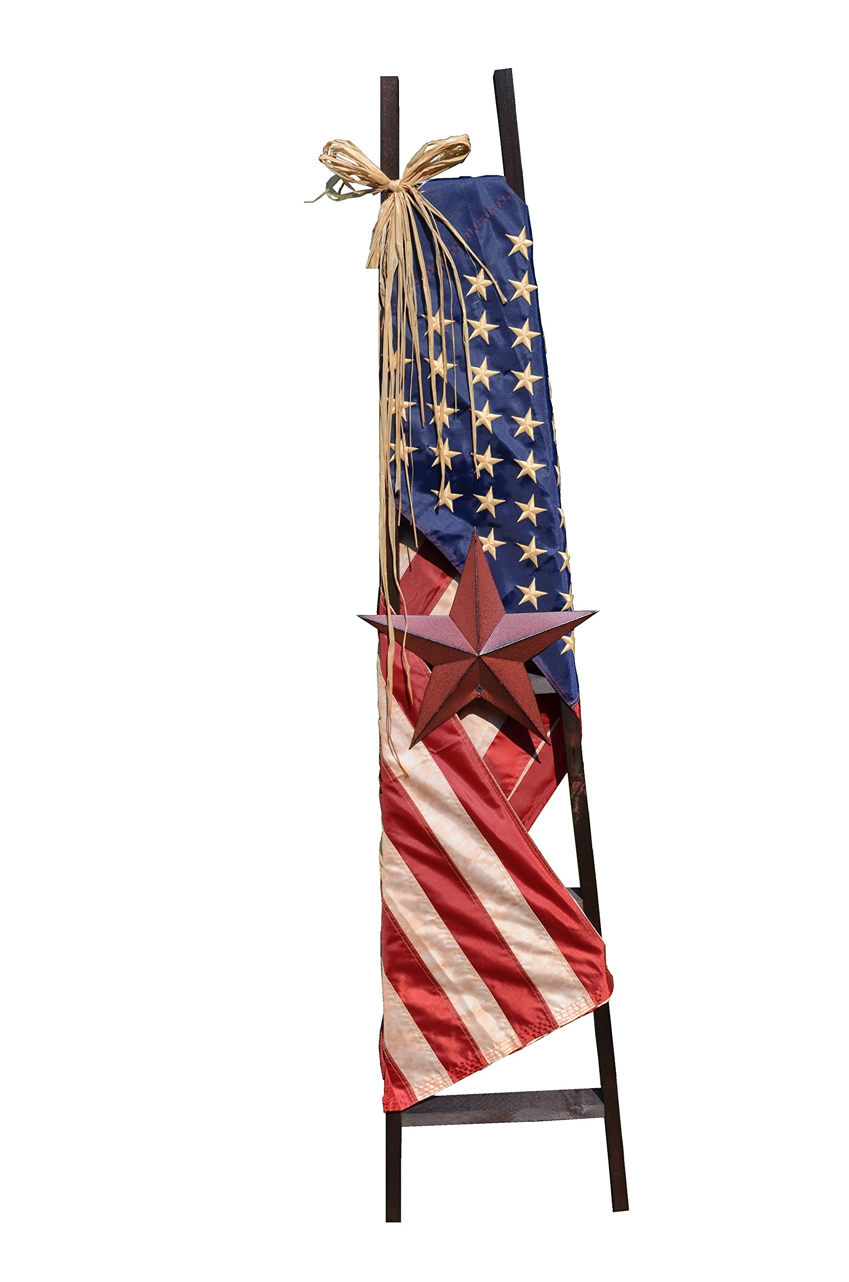 5 foot tall 5 Rung Wood Ladder with Draped American Flag, 12'' Rustic Burgundy Barn Star, and Raffia. The tea stained flag is nice quality with thread stitched stars. The stripes also have stitching.