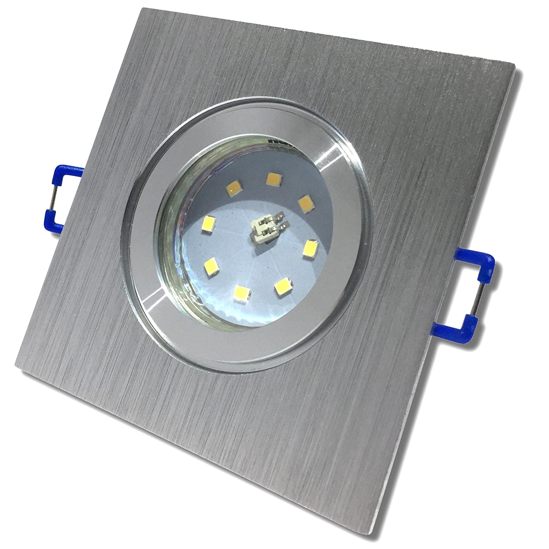 1 Stück IP44 SMD Modul Bad Einbaustrahler Neptun 230Volt 5Watt Eckig BiColor/Warmweiß [Energieklasse A+] LC-Light