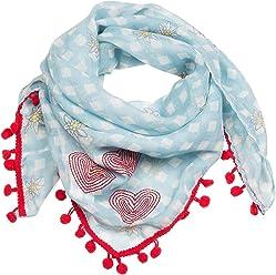 """SIX """"Oktoberfest hellblau/weiß kariertes Tuch, Schal mit kleinen Edelweiß Blumen und roten Bommeln (705-310)"""