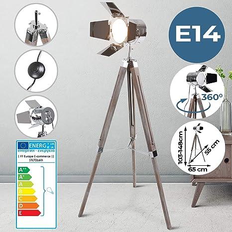 Lámpara de Pie Proyector con Trípode de Madera - CEE: A++ a E, Diseño Foco Cinema, Altura regulable, Estilo Vintage y Retro - Iluminacion de Lectura, ...