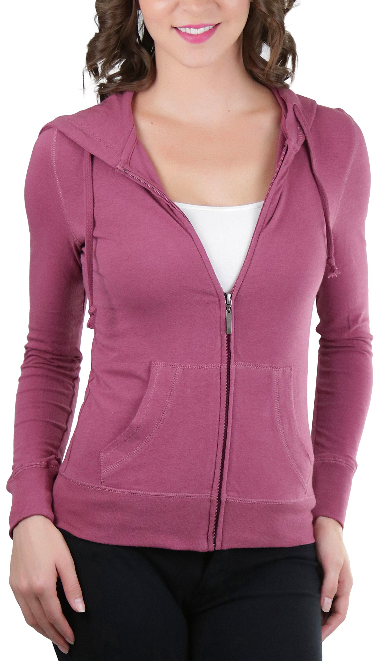 ToBeInStyle Women's L.S. Zip-Up Drawstring Hoodie - Mauve - Large
