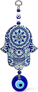 Floral Blue Hamsa Wall Art Home Blessing Wall Hanging Decor With Evil Eye Amulet for Good Luck, Prosperity, Good Fortune and Protection Lovely Housewarming Gift or New Business Office Present