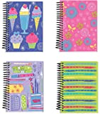 """Spiral Bound Thick Notebook Set (4 Notepads Total) 5.5"""" x 4"""" - 160 Lined Pages Per Book - Stationery 4 Awesome Designs Featuring Frosted Covers"""